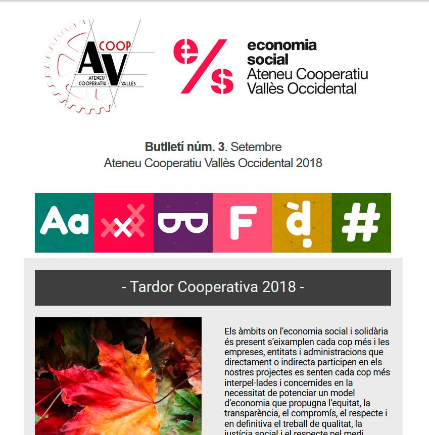 Butlletí núm. 3. Setembre. Ateneu Cooperatiu Vallès Occidental 2018