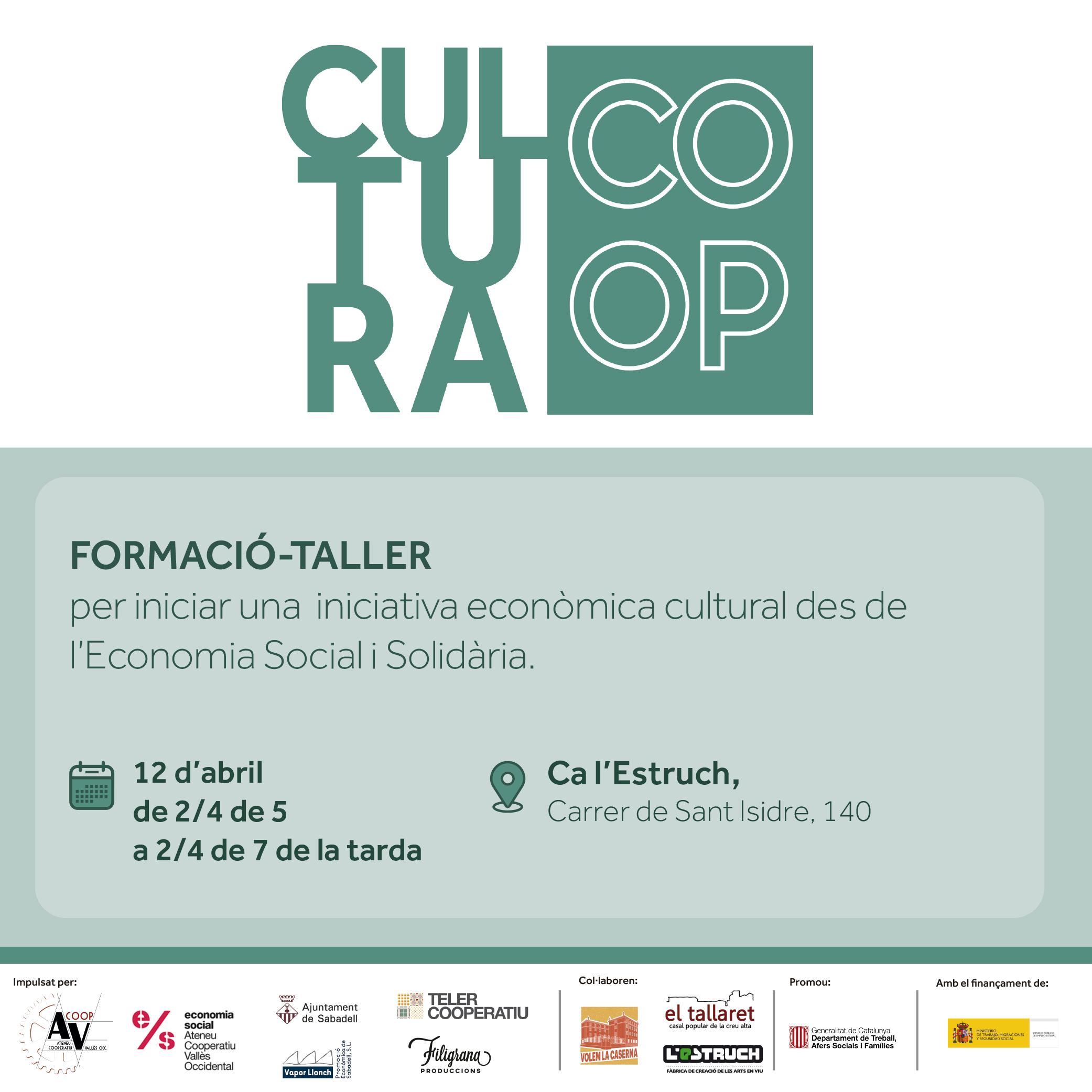 Cicle Cultura Coop: Taller Formació Iniciar un projecte econòmic en el sector cultural