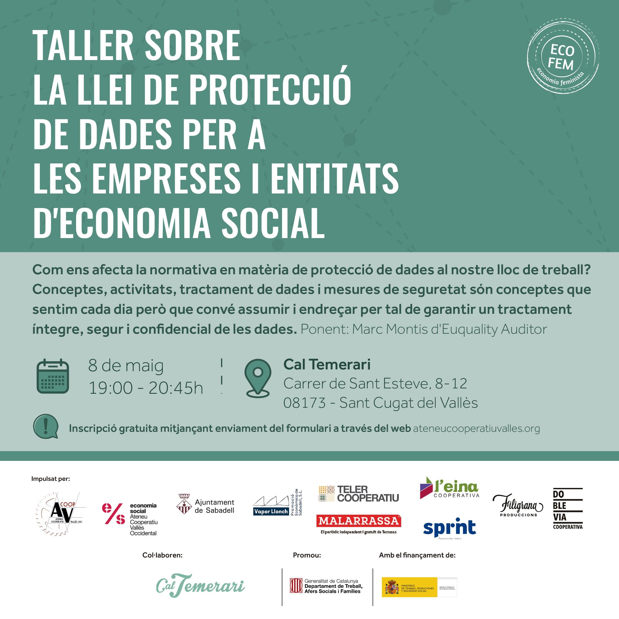 Taller sobre la Llei de protecció de dades per a les empreses i entitats economia social